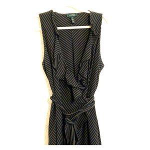 Ralph Lauren black linen wrap dress w high low hem